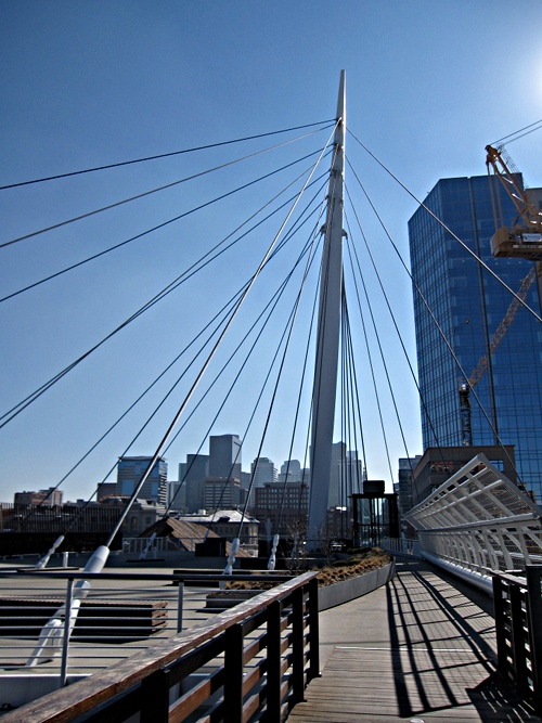 Longest reachable suspension stay on the Denver Millennium Bridge