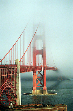 The Bridge in typical SF morning weather, seen from the south