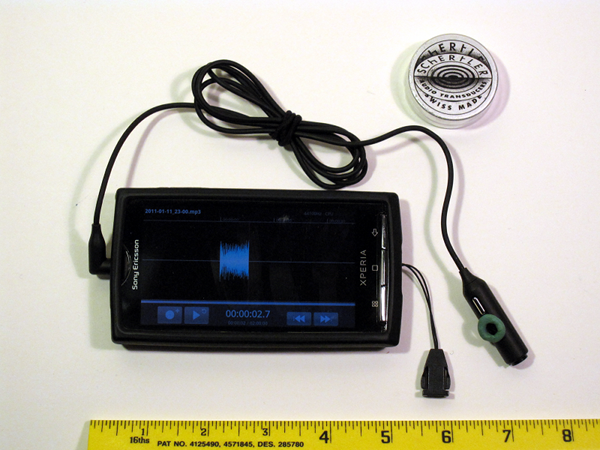 Sony Xperia X10 rigged as a recorder