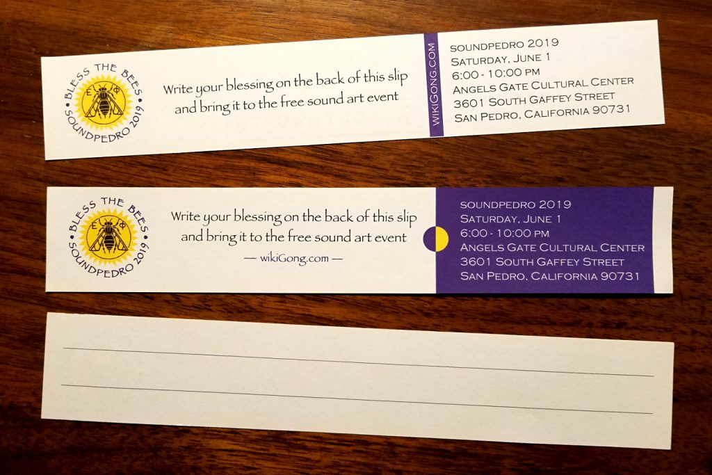 Printed paper slips for collecting blessings for the Bees of the Dead