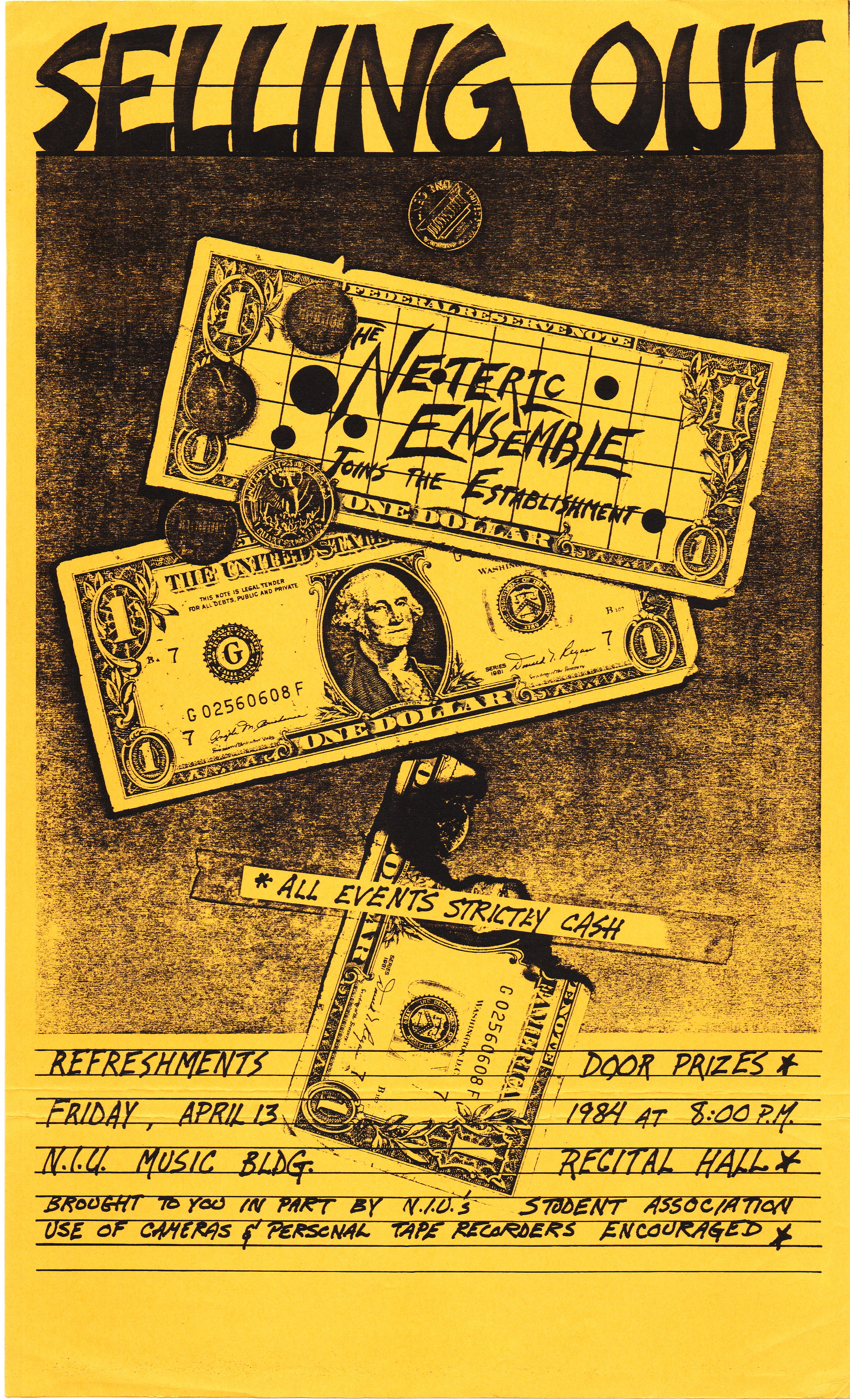 """Plain paper poster for the Neoteric Ensemble concert """"Selling Out"""", April 13, 1984"""